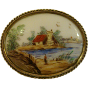 Hand painted miniature porcelain plaque