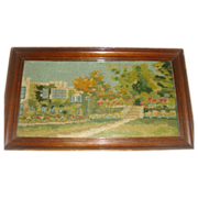 Early needlepoint picture in frame