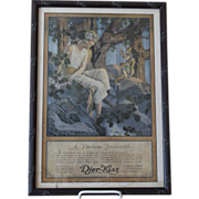 SOLD Framed French Djer-Kiss Ad by Maxfield Parrish