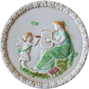 Vintage Bisque and Glazed Wall Plate Cherub