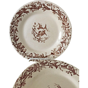 "Set 6 19th c Gien France Transferware Plates ""Aviary"""