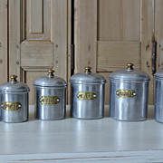 SOLD Set 6 Vintage Aluminum & Brass French Canisters 1920s/30s