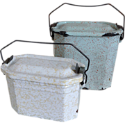 SOLD Two Vintage French Enamel Lunch Pails