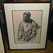Francis de Erdely Ink & Charcoal Drawing - Untitled - ca. 1940's-50's