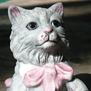 Curio Cabinet Cat - Cybis Style Porcelain - Franklin Mint - ca. 1986-88
