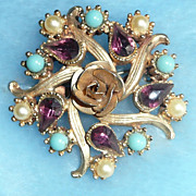 Vintage Rhinestone, Faux Pearl & Turquoise Pin/Brooch - ca. 1950's-60's
