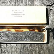 Coppini Sterling Silver Engraved Comb Case w/Comb - ca. 1930-40's