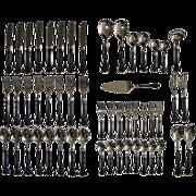 Faux Tortoiseshell Tortoise Shell Silver plate Flatware 52 pieces