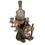 REDUCED Swiss Black Forest Bear Decanter Stand Bottle & Glasses Wooden Bear Figure.