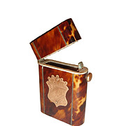 REDUCED Antique Faux Tortoise Shell Matchbox Box Gold Shield and Silver Inlay.