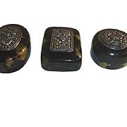 Vintage Set Faux Tortoise Shell Yogya Silver snuff Box, Tortoiseshell Pill box. 2