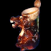 REDUCED Antique Majolica Stoneware Bear Pitcher Jug 1819.