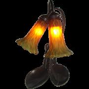 REDUCED Art Deco Lobster Table Lamp Brass Lobster, Pate de Verre Glass.