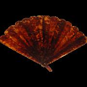 Large Asian Vintage Faux Tortoise Shell Hand Fan.