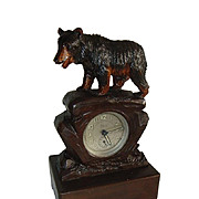 Vintage Swiss Black Forest Bear Alarm Table Mantel Clock & Music Box Combination.