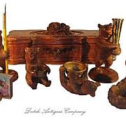 Swiss Black Forest Bear Figures & Glove Casket Box