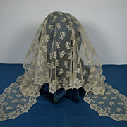 SOLD Wonderful Antique Hand Made Lace Wedding Veil - from the 1880s