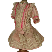 SOLD Wonderful Antique Rose Silk Tiny French Bebe Dress for JUMEAU, BRU other French Doll