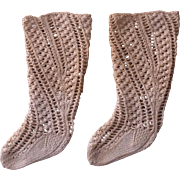 RARE Antique French circa 1860's for F.F. Doll Hand Knitted Stockings
