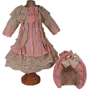 Marvelous Antique Hand Made Valenciennes Lace Tiny French Bebe Dress and Bonnet for Jumeau, Br