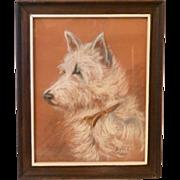 Vintage French Watercolor Original West Highland Terrier Dog Signed and Framed 1943
