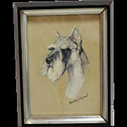 Schnauzer Dog Portrait Artist Signed Walter L. Brown (American School 20th Century)