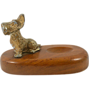 Vintage McDonald Walnut & Brass Scottish Terrier Pipe Holder