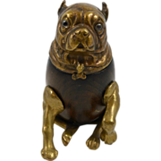 SALE Vintage Bronze Arthur Court Pug Dog Inkwell 1979