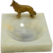 Vintage Alabaster Trinket Dish with Cold- Painted Bronze Collie Dog circa 1920-1930