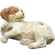 Vintage Chalkware Puppy Sees Bug Circa 1930 - Early 1950's