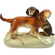 SALE Large Vintage Royal Dux Pair of Hunting Dogs c. 1950's
