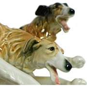 Rare Vintage Karl Ens Borzoi Russian Wolfhound Dog Pair c. 1919 - 1930