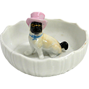 Vintage Porcelain Pin Dish with Pug Dog with a Pink Top Hat c.1950's