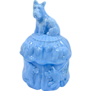 SALE Vintage Akro Agate Blue Slag Glass Scottie Dog Powder Jar
