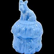 SOLD Vintage Akro Agate Blue Slag Glass Scottie Dog Powder Jar