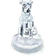 Antique Pressed Glass Terrier Dog Paperweight c. early 1900's