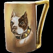 SALE Vintage Bavarian Hard Paste Porcelain Boston Terrier Stein c.1912-1917