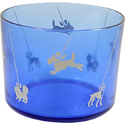 SALE Vintage Cobalt Blue Glass Bowl with Dog Silhouettes