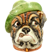 Whimsical Majolica Bulldog w/Cigar Tobacco Humidor