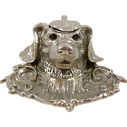 SOLD Silverplate Figural Dog Head Inkwell Elkington & Co. c1865 - Red Tag Sale Item