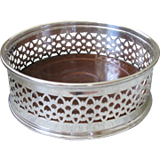 SALE Vintage Silverplate Wine Coaster or Caddy, with mahogany insert/liner.  LARGE, likely ...