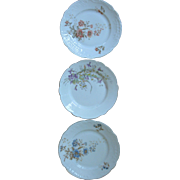 SALE Set of 3 Hand-Painted Porcelain Floral Cabinet Plates, two are marked, signed, numbered