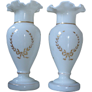 SALE LARGE, Perfect Pair of Hand Painted Bristol Glass Mantel Vases, Opaline Glass