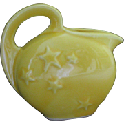 SALE Vintage USA Pottery yellow CREAMER, stars