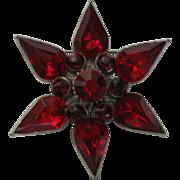 SALE Vintage, Dark Ruby-Red Rhinestone Star Flower Brooch