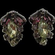 SALE Pair of Vintage Rhinestone Clip-On Earrings, Purple, Pink, Yellow , Pastels