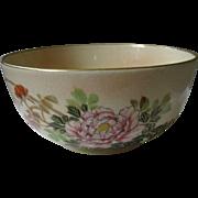 SALE Ornate, Japanese Satsuma Bowl, Earthenware, Peony Flowers and Bird, Meiji Period, Taisho
