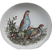 SALE Huge, Johnson Brothers, Hand Engraved Porcelain PARTRIDGE Plate, England