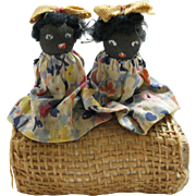 SALE Antique, Hand Made Folk Art Pair of TWIN Dolls, sitting on a Bale of ...