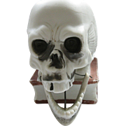 SALE Early, Schafer & Vater, Bisque Ceramic Skull Nodding Candle Holder, Halloween, Germany